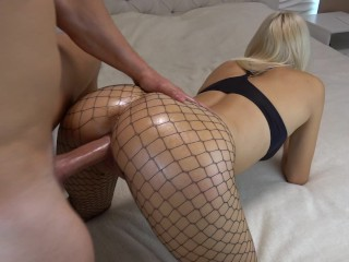 Skinny blonde amateur tranny plays at home